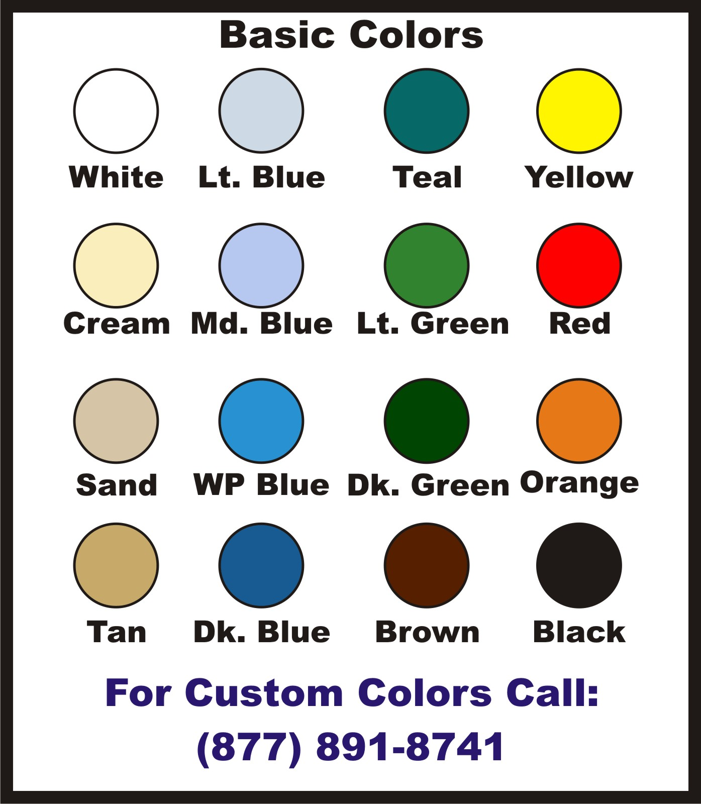 spray-lining color chart